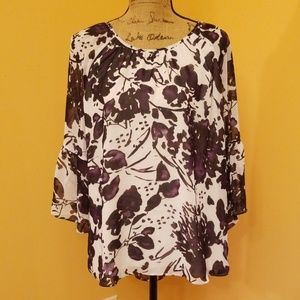 Cato sheer purple floral blouse Z222:5:619